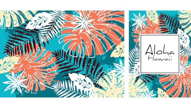 Modello senza cuciture delle foglie tropicali, illustrazione disegnata a mano di vettore dell'acquerello. stampa di mostri e palme. design estivo. Vettore Premium