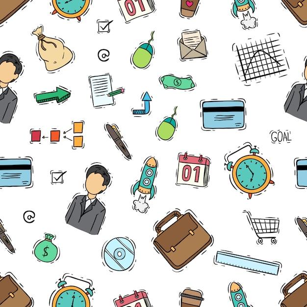 Modello senza cuciture delle icone di affari con stile colorato di doodle Vettore Premium