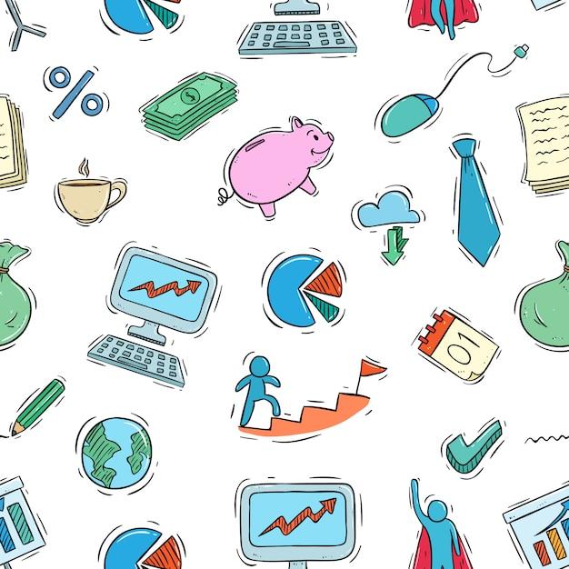 Modello senza cuciture delle icone di affari con stile doodle colorato Vettore Premium