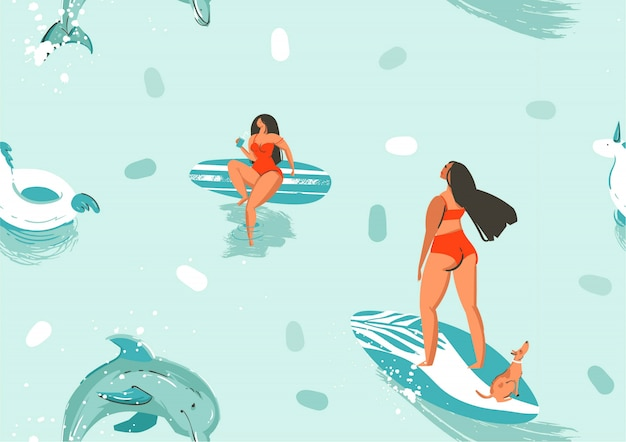 Modello senza cuciture delle illustrazioni del fumetto di ora legale sveglia astratta di riserva disegnata a mano con le ragazze e i delfini della tavola da surf nel fondo blu dell'acqua dell'oceano. Vettore Premium