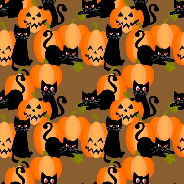Modello senza cuciture delle zucche di halloween e del gatto nero Vettore Premium