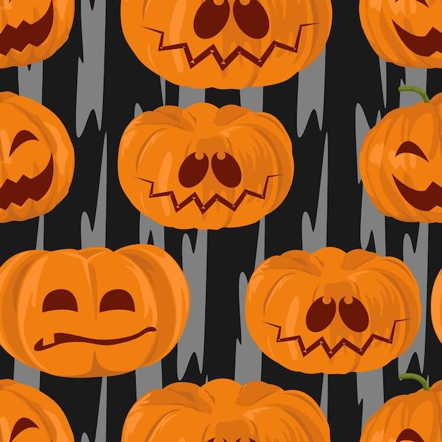 Modello senza cuciture delle zucche di sorriso di halloween dell'acquerello Vettore Premium