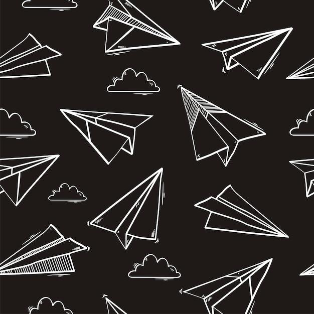 Modello senza cuciture di aeroplano di carta origami Vettore Premium