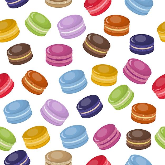 Modello senza cuciture di amaretti dolci colorati del fumetto Vettore Premium
