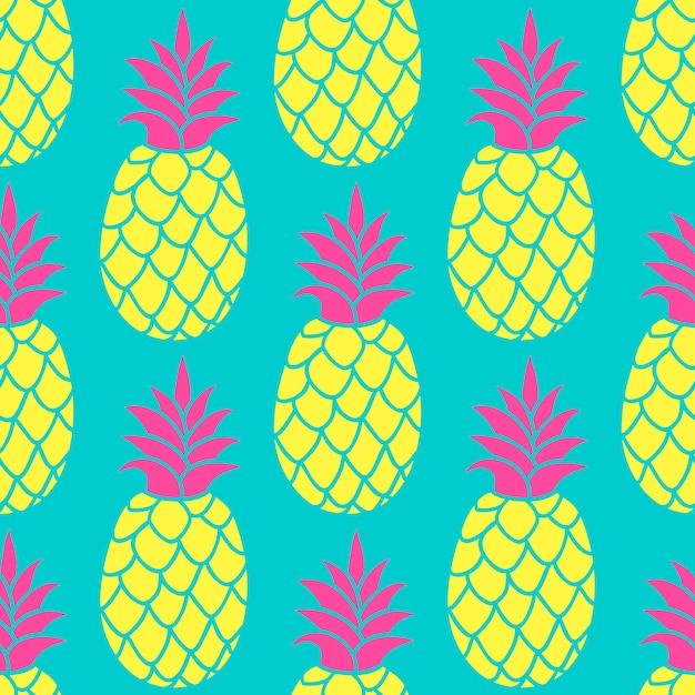 Modello senza cuciture di ananas in colori alla moda. Vettore Premium