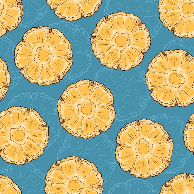Modello senza cuciture di ananas in stile schizzo. Vettore Premium