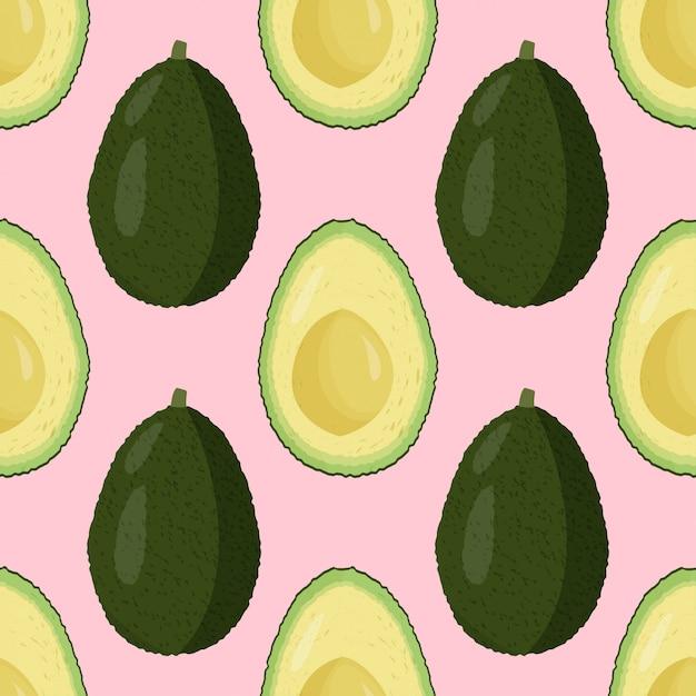 Modello senza cuciture di avocado fresco. Vettore Premium