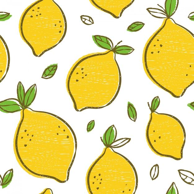 Modello senza cuciture di bellezza moderna dei limoni di frash Vettore Premium