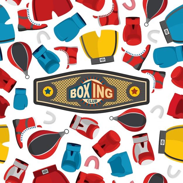 Modello senza cuciture di boxe, sfondo sport. attrezzature da boxe: guanti e casco. Vettore Premium