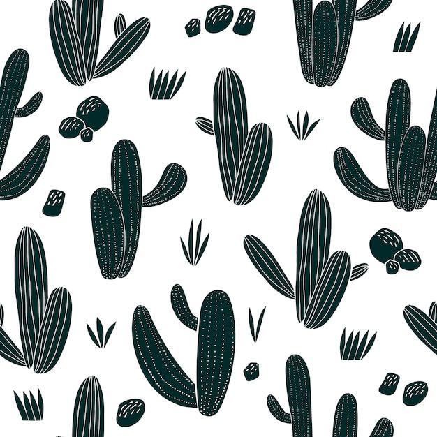 Modello senza cuciture di cactus disegnato a mano. piante botaniche africane Vettore Premium