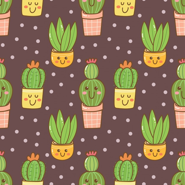 Modello senza cuciture di cactus kawaii disegnati a mano Vettore Premium