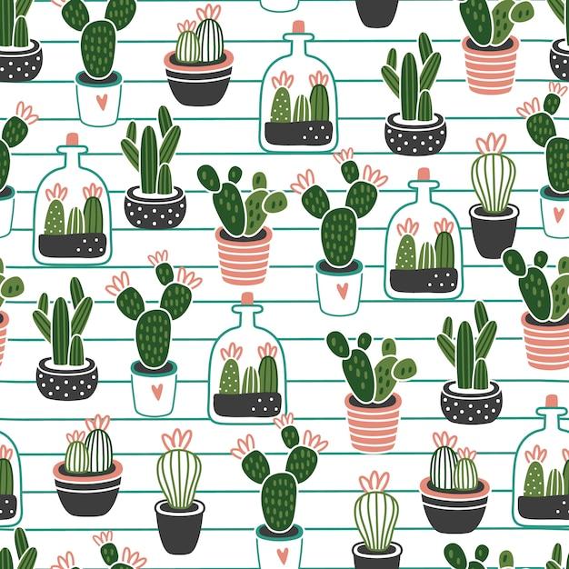 Modello senza cuciture di cactus Vettore Premium
