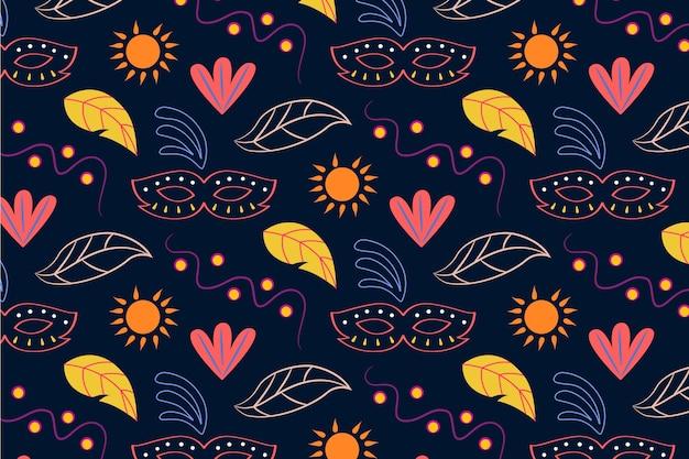Modello senza cuciture di carnevale brasiliano disegnato a mano con foglie e sole Vettore gratuito