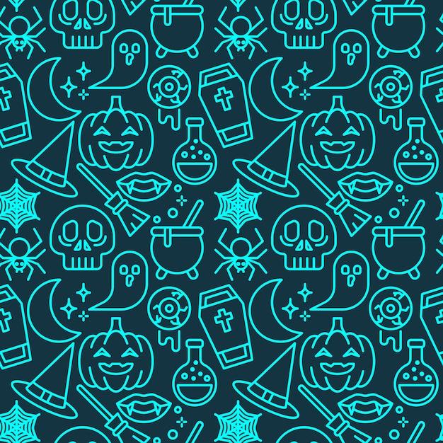 Modello senza cuciture di colore al neon di halloween per carta da parati, carta da imballaggio, per stampe di moda, tessuto, design. Vettore Premium
