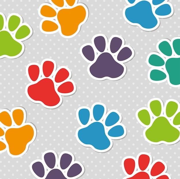 Modello senza cuciture di colori dell'animale domestico della stampa del piede Vettore Premium