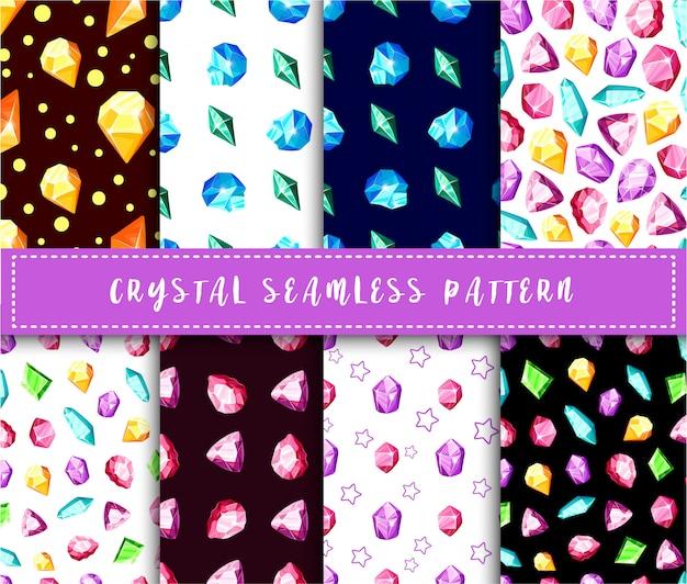 Modello senza cuciture di cristallo - fondo senza fine variopinto dei cristalli o delle gemme dell'arcobaleno Vettore Premium