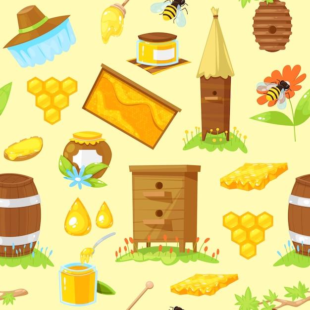 Modello senza cuciture di elementi del fumetto di apicoltura Vettore Premium