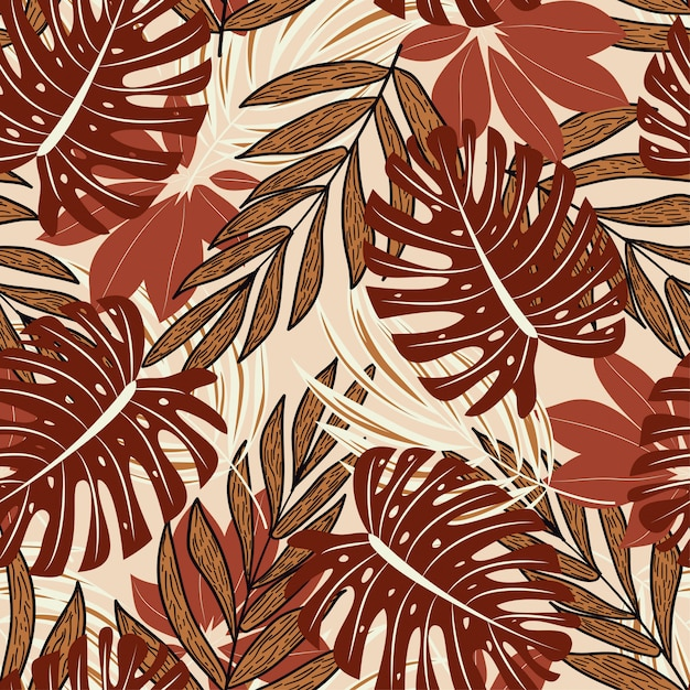 Modello senza cuciture di estate con belle piante tropicali e foglie Vettore Premium