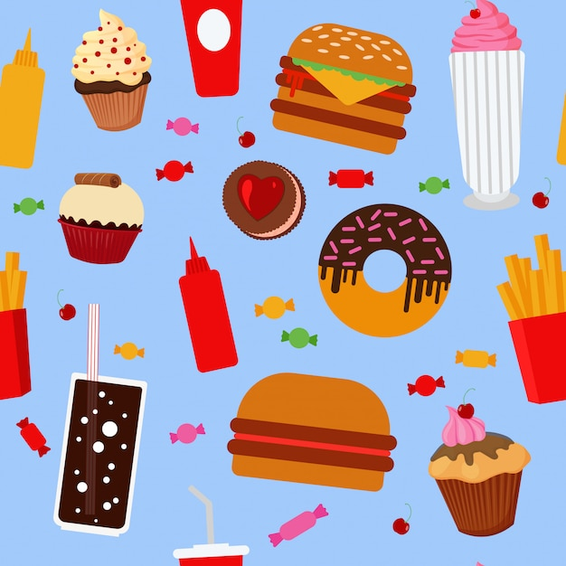 Modello senza cuciture di fast food con dolci Vettore Premium