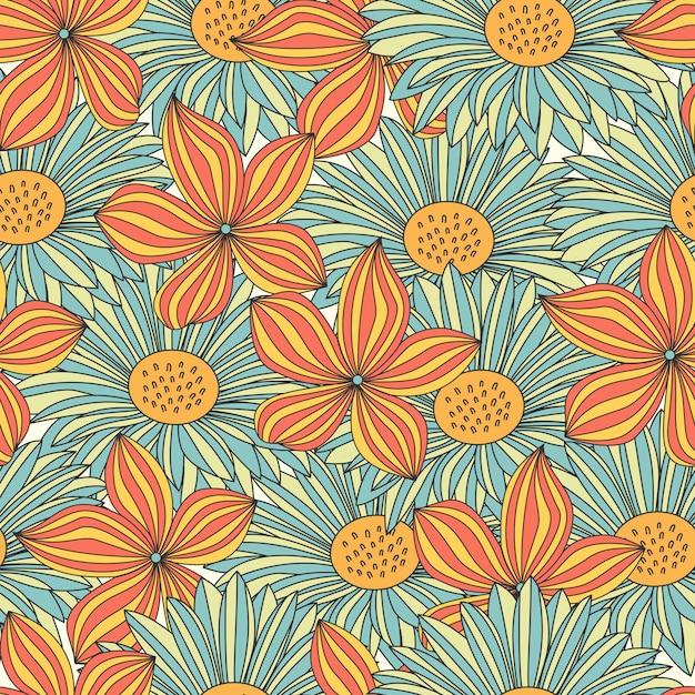 Modello senza cuciture di fiori colorati Vettore Premium