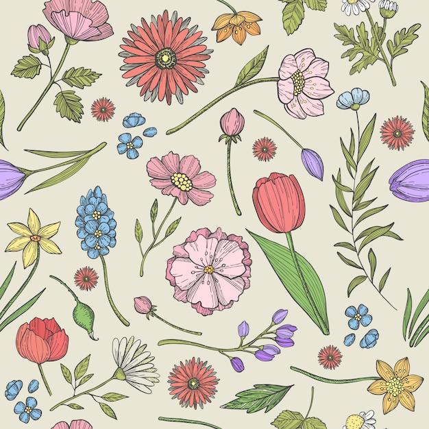 Modello senza cuciture di fiori e piante con varie erbe e altre piante Vettore Premium