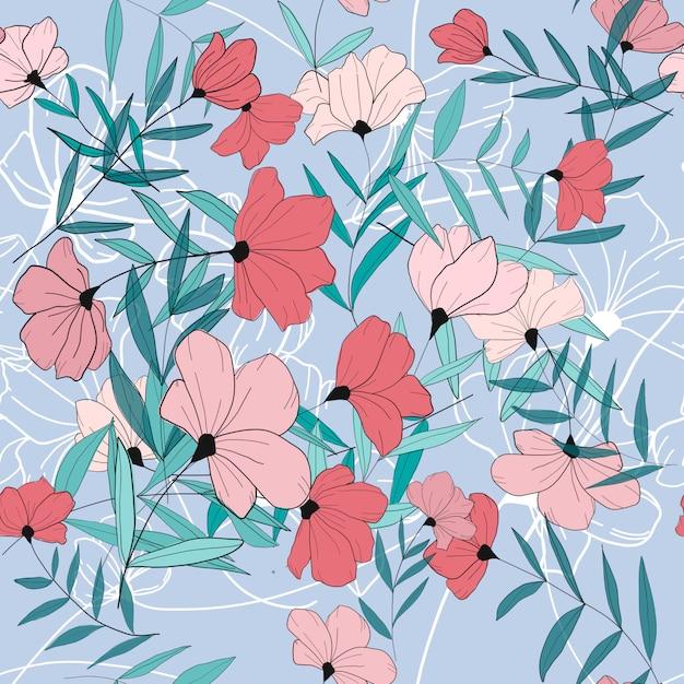 Modello senza cuciture di fiori rosa Vettore Premium
