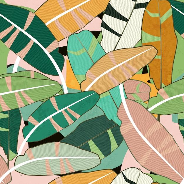 Modello senza cuciture di foglie colorate Vettore Premium
