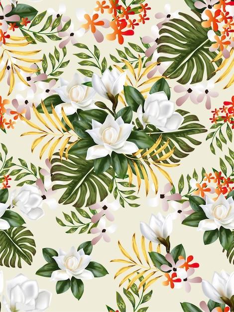 Modello senza cuciture di foglie e fiori tropicali Vettore Premium