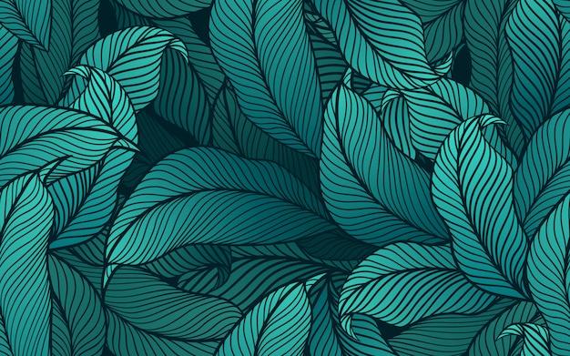 Modello senza cuciture di foglie tropicali Vettore Premium