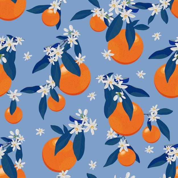 Modello senza cuciture di frutti arancio con fiori e foglie blu Vettore Premium