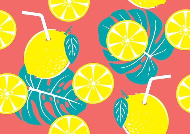 Modello senza cuciture di giallo limone e foglie tropicali Vettore Premium