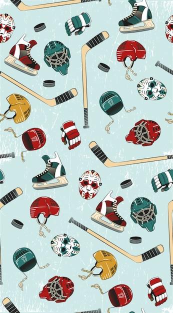 Modello senza cuciture di hockey Vettore Premium