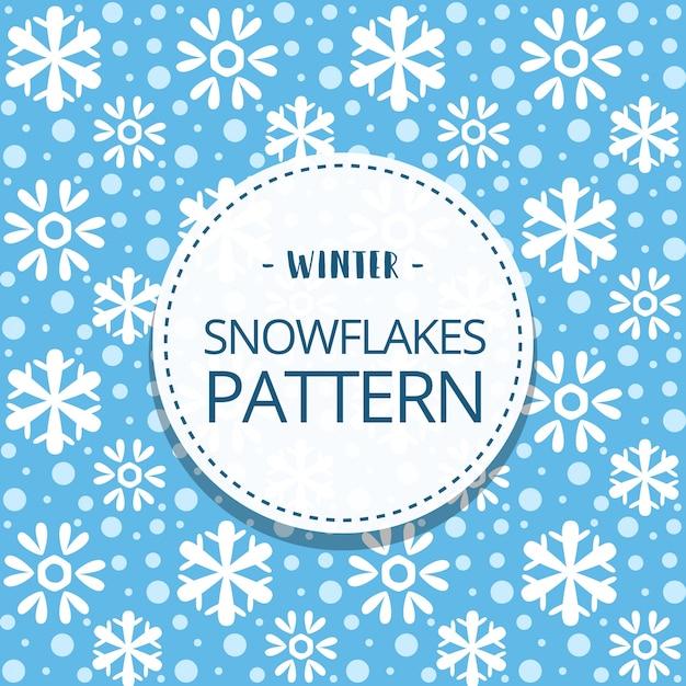 Modello senza cuciture di inverno del fiocco di neve sveglio di scarabocchio del fumetto Vettore Premium