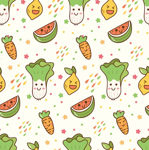 Modello senza cuciture di kawaii di frutta e verdura del fumetto Vettore Premium