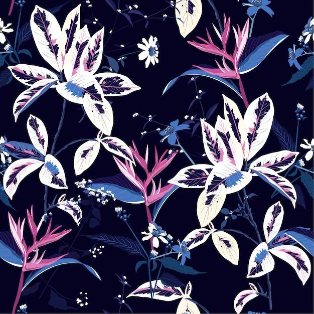 Modello senza cuciture di notte e fiore tropicali scuri esotici Vettore Premium