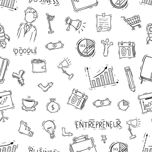 Modello senza cuciture di oggetti business con stile doodle Vettore Premium