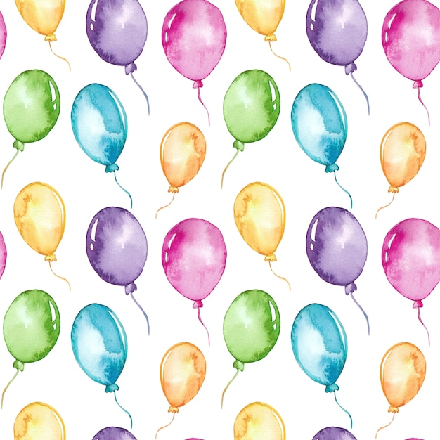 Modello senza cuciture di palloncini colorati ad acquerello Vettore Premium