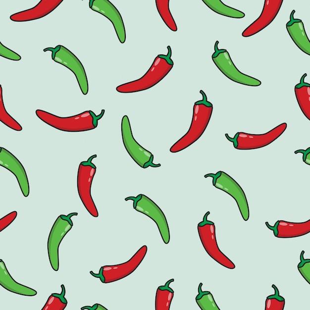 Modello senza cuciture di peperoncino rosso e verde Vettore Premium