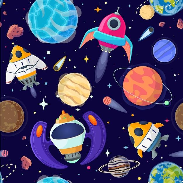 Modello senza cuciture di pianeti e astronavi nello spazio aperto. Vettore Premium