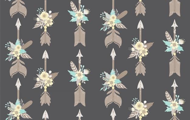 Modello senza cuciture di piume, frecce e fiori etnici. stile boemo illustrazione vettoriale Vettore Premium