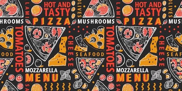 Modello senza cuciture di pizza e ingredienti. cibo italiano disegnato a mano Vettore Premium