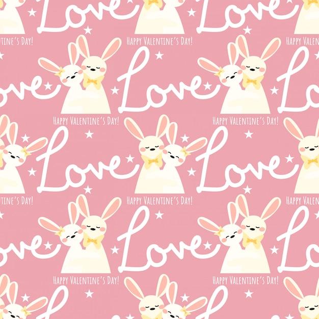 Modello senza cuciture di san valentino con coppia di conigli carino. Vettore Premium