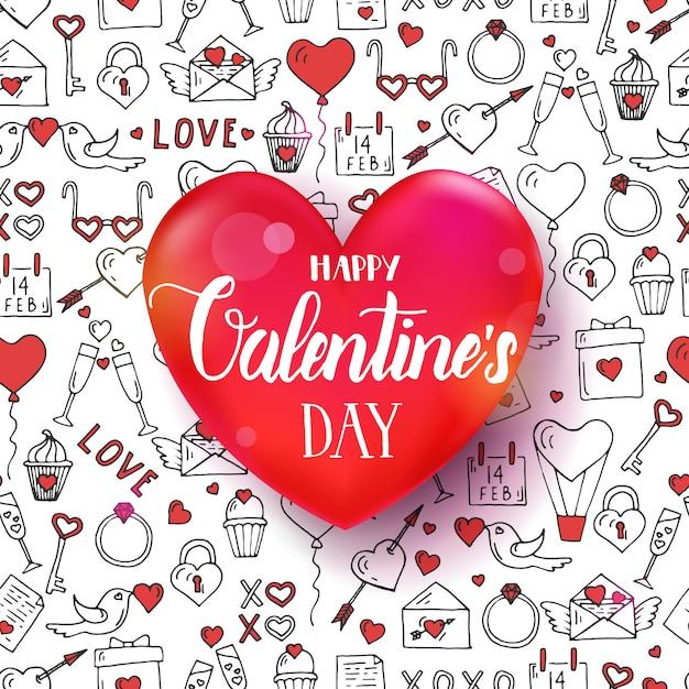 Modello senza cuciture di san valentino con simboli di amore disegnati a mano. cuore rosso 3d con la citazione scritta a mano dell'iscrizione Vettore Premium