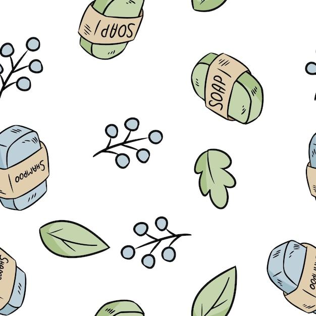 Modello senza cuciture di sapone e shampoo materiale naturale. prodotto ecologico e privo di rifiuti. casa verde e senza plastica Vettore Premium