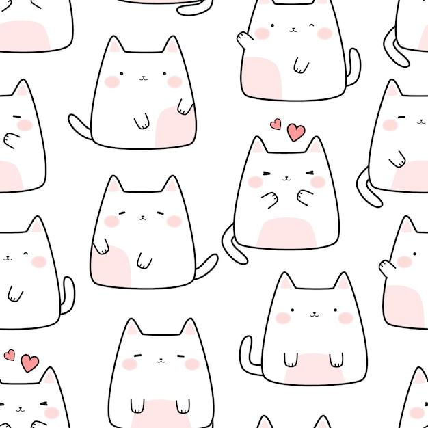 Modello senza cuciture di scarabocchio del fumetto del gattino bianco sveglio del fumetto Vettore Premium