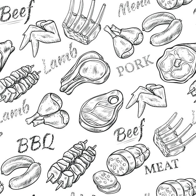 Modello senza cuciture di schizzo bianco nero di carne con carne di manzo e maiale Vettore gratuito