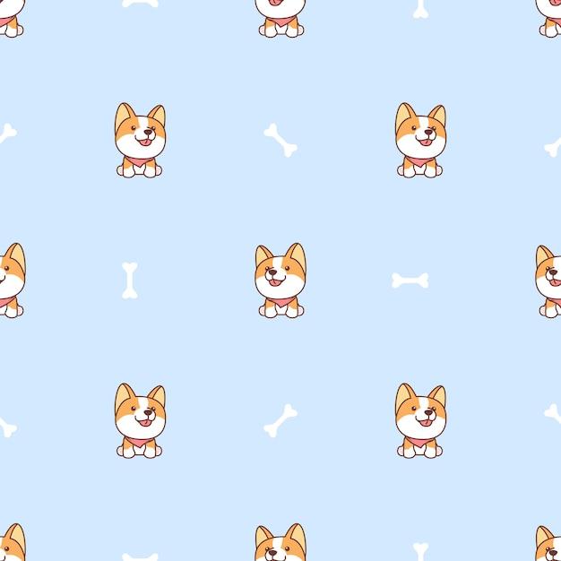 Modello senza cuciture di seduta e sorridente del fumetto del cane sveglio del corgi Vettore Premium