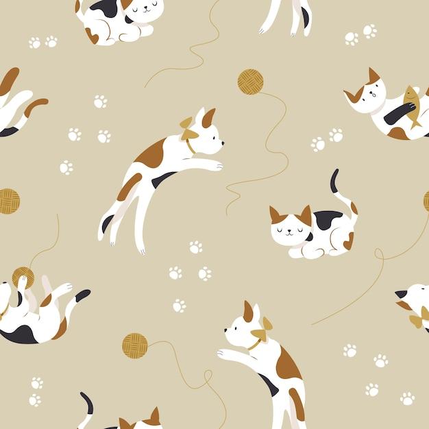 Modello senza cuciture di simpatici gattini Vettore Premium