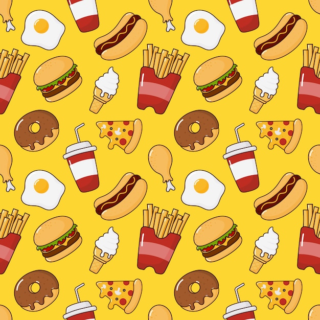 Modello senza cuciture di snack fast food. bevande e dessert isolati su giallo. Vettore Premium
