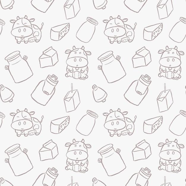 Modello senza cuciture di stile disegnato a mano del fumetto delle mucche da latte sveglie. Vettore Premium
